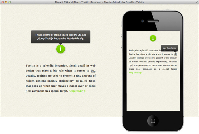 Elegant CSS and jQuery Tooltip: Responsive, Mobile-Friendly