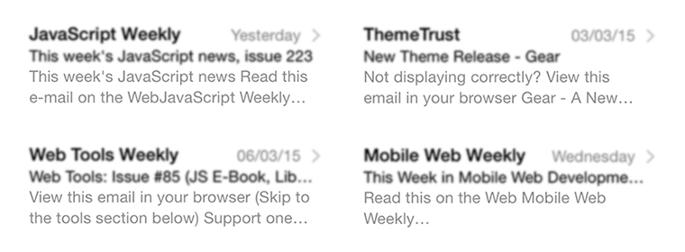 Newsletters by JavaScript Weekly, Web Tools Weekly, Mobile Web Weekly, ThemeTrust