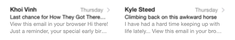 Newsletters from Khoi Vinh and Kyle Steed