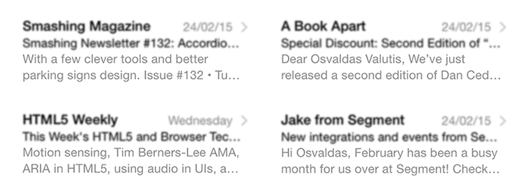 Newsletters from Smashing Magazine, HTML5 Weekly, A Book Apart, Segment
