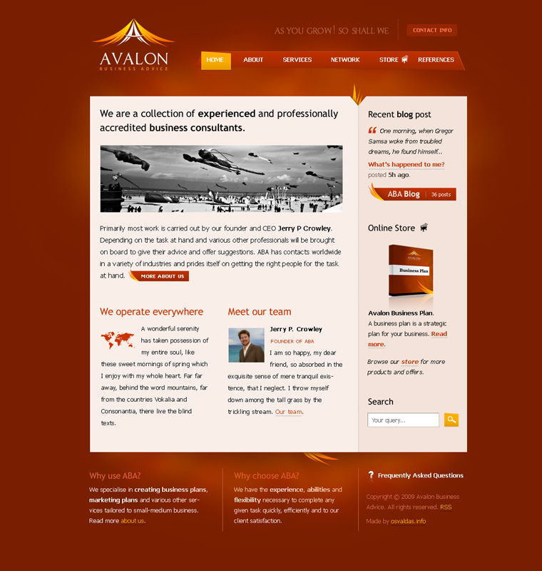 Avalon Business Advice website