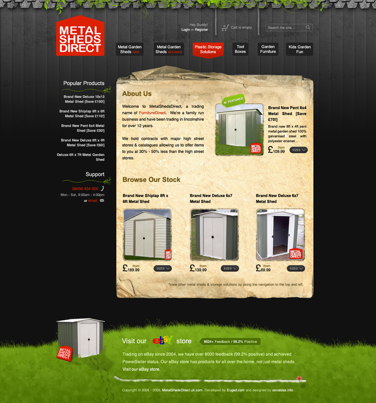 Metal Sheds Direct website